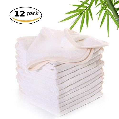 Luckiss - Paños de Cocina de bambú 100% ecológicos y absorbentes con Lado para Fregar Platos Blancos de 30 x 30 cm,...