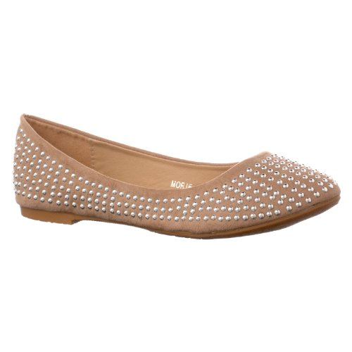Styluxe Womens Morie Studded Flats Taupe dKa3ni