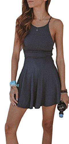 WOZNLOYE Sommer Damen Falten Kurz Kleid Sexy Trägerkleid Rundhals Freizeit Kleider Strandkleider Einfarbig Tunikakleid Minikleid Partykleid Cocktailkleid Grau 7cyY0