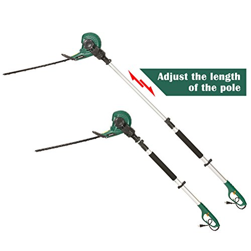 DOEWORKS 4AMP Corded 2 in 1 Multi-Angle Telescopic Electric Pole Hedge Trimmer, 18″ Dual Steel Blade