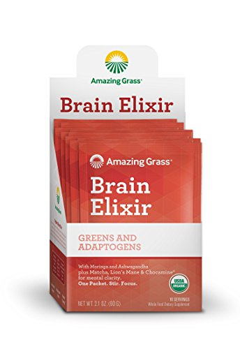 Amazing Grass Brain Elixir, Greens and Adaptogens Organic Powder, 10ct Packet ()