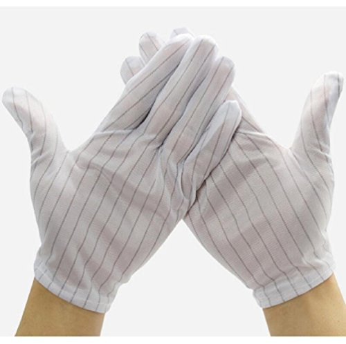 Aerfas 10 Pair White Color Double Sides Stripe Anti Static Gloves for Computer Electronic Working Repairing ESD PC Anti-skid Dust-free workshop work gloves Protective gloves Labour safety glove