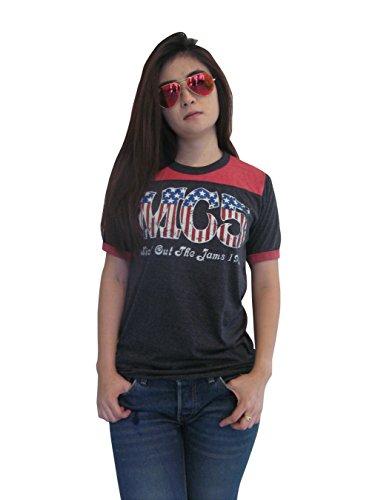 Bunny Brand Women's MC5 Kick out the Jams 1970 Music Ringer T-Shirt Jersey (Small)