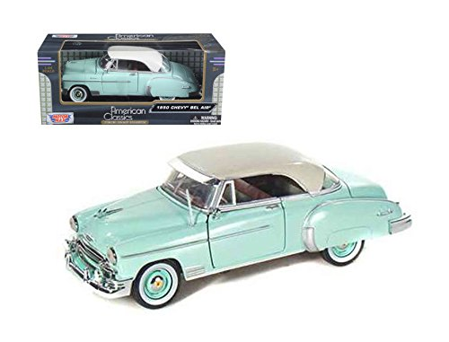 Motor Max 1:24 1950 Chevrolet Bel Air Coupe Die Cast Vehicles, Teal (1950 Chevrolet Bel Air Vehicle)