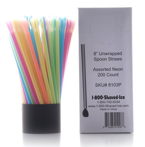 Spoon Straws, Assorted Neon, 200 Count by Hawaiian Shaved Ice