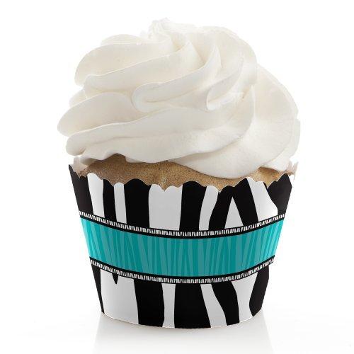 Teal Zebra (Zebra Teal - Bridal Shower Cupcake Wrappers - Set of 12)