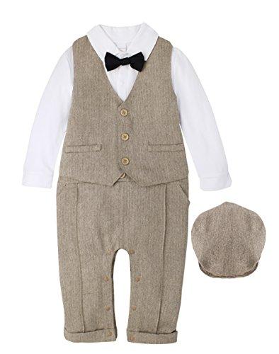 Tuxedo Romper Bowtie Onesie Jumpsuit 5 pc Suit Set Outfit Light Brown 12M 9-12 Months (Tuxedo 6 Light)