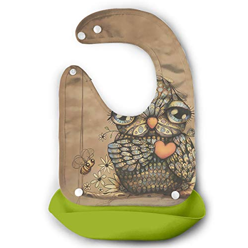 Price comparison product image Owl Waterproof Adjustable Snaps Baby Bibs For Baby Boys With Food Catcher Pocket
