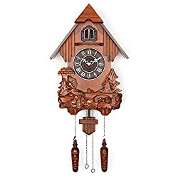 Polaris Clocks Cuckoo Clock in German Style with Night Mode Option (Brown, Water Mill-2)