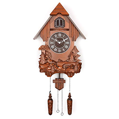 Polaris Clocks Cuckoo Clock in German Style with Night Mode Option Brown, Water Mill-2