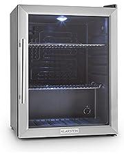 Klarstein Beersafe XL - Minibar, Mini-Kühlschrank, Getränkekühlschrank, 60 Liter, leise, 42 dB, Edelstahl, Glastür, 2 Einschübe, 5-stufiger Temperaturregler, schwarz-silber