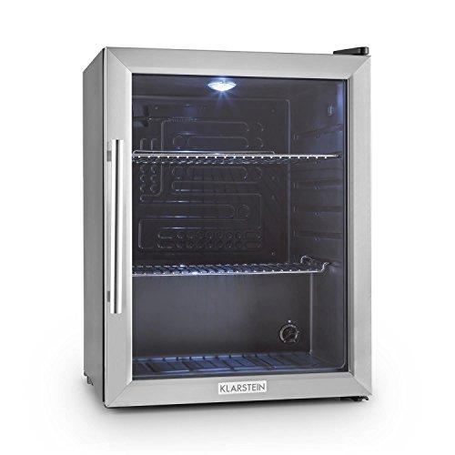 Klarstein Beersafe XL Edelstahl Kühlschrank Bierkühlschrank Getränkekühlschrank (60 Liter, Klasse B, mit Glastür, 2 Einschübe, 5 stufig einstellbarer Temperaturregler) silber