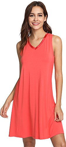 - WiWi Bamboo Sleeveless Chemise Nightgowns for Women V Neck Sleep Shirts S-XXXXL(4XL), Peach, Small