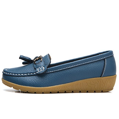 Otoño genuino cuero zapatos Primavera Primavera zapatos Mujer de de de Casual Azul ebfd5b
