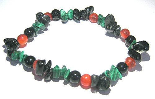 CRYSTAL MIRACLE BEAUTIFUL BLACK TOURMALINE MALACHITE CARNELIAN BLACK OBSIDIAN BEADED BRACELET CRYSTAL HEALING MEN WOMEN GIFT FASHION WICCA JEWELRY PSYCHIC ENERGY MEDITATION WELLNESS HEALTH WEALTH LUCK by CRYSTALMIRACLE