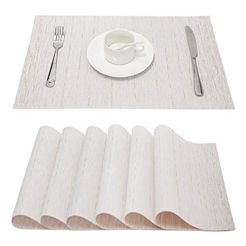 (Top Finel Placemats for Dining Table, Woven Table Mats Set of 6, Insulation Place Mats for Dinner Table Anti-Skid, Cream)