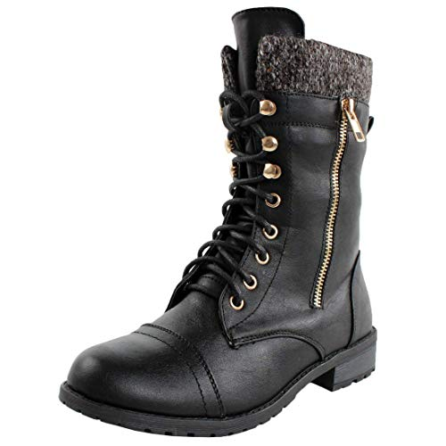 Forever Link Women's Mango-31 Lace-Up Boot PU Black 9