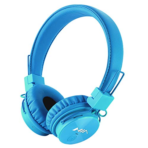 Kids Wireless Headphones, Toddler Boys Girls On-Ear Bluetooth Headphones with FM Radio, Microphone, TF Card Player, 3.5 MM Jack, Children Headset for iPhone, iPad, Laptop, Kindle – Blue