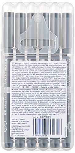 Staedtler 308 SB6P VE Pigment Liner 308 16 x 6 (4+2 Free) Black Pigment Ink Felt Tip Pens for Sketching/Drawing 0.5/0.1/0.2/0.3/0.5/0.8 mm by STAEDTLER (Image #2)