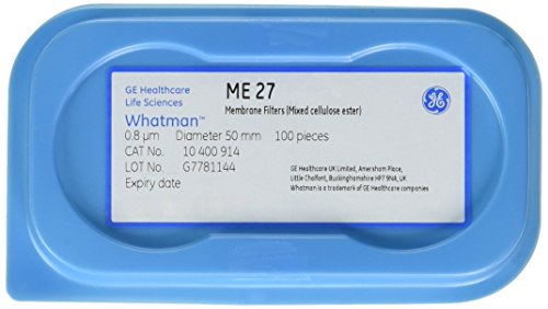 GE Whatman 10400914 Mixed Cellulose Ester Membrane, ME 27 Range, Non-Sterile, Circle, Plain Grid, 0.8µm Pore Size, 50mm Diameter (Pack of 100) by Whatman