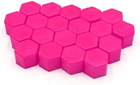 uxcell ホイールラグカバー 17mm ピンク 発光 自動車 ホイール ラグナットボルト ハブ ネジ カバー 保護キャップ 20個入り