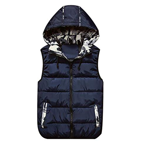 Leather Bke (LISTHA Padded Cotton Vest Mens Winter Hooded Coat Sleeveless Jacket Thick Warm)