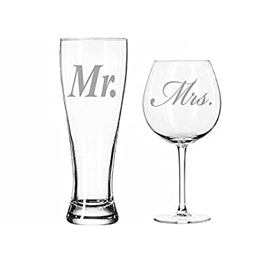 Mr. Pilsner Beer Glass and Mrs.Wine Glass Set - Pilsner is 23oz and Wine Glass 18oz- Laser Etched. Great Couples Gift