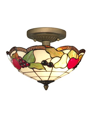 Springdale STH11001 Fruits Tiffany Semi-Flush Mount, Antique Brass (Fruit Tiffany Bowl)