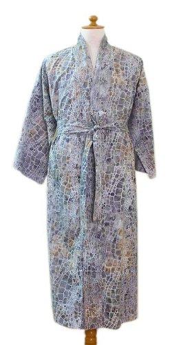 NOVICA Green Men's Cotton Batik Robe, 'Bull Snake' (One Size Fits - Wrap Batik Cotton