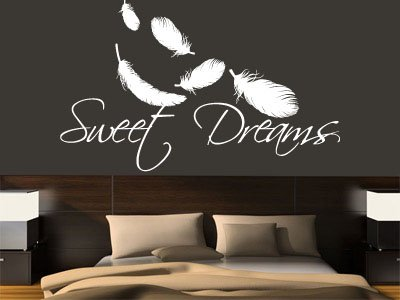 Wall Decal Vinyl Sticker Decals Art Decor Design Sign Sweet Dreams Lettering Feathers Family Love Headboard Gift Dorm Bedroom Nursery(r1063)