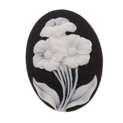 (Beadaholique Lucite Oval Cameo Black with 3 White Flowers 40x30mm (1 Piece))