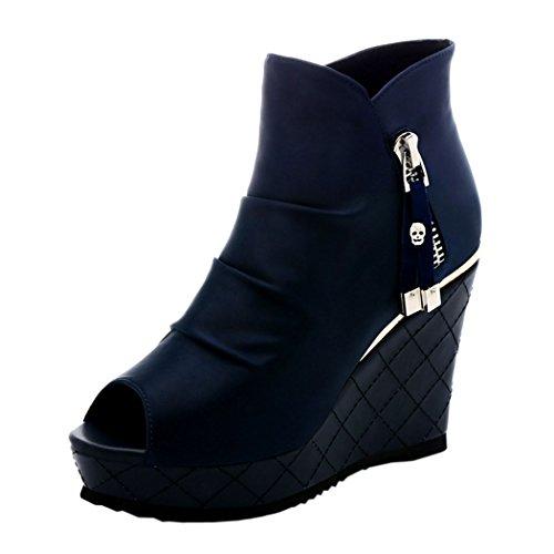 Guciheaven Women New Summer British Style Beautiful Platform Shoes(8.5 B(M)US, Blue)