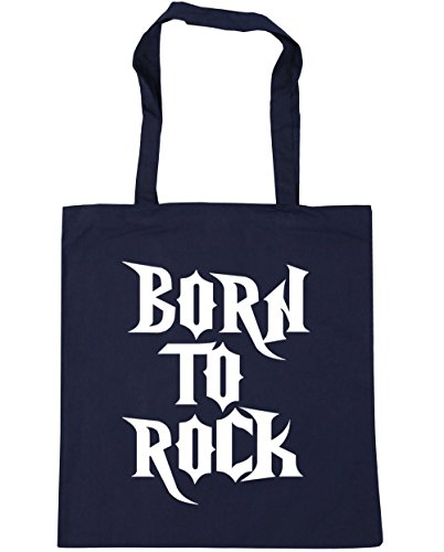 HippoWarehouse Born to rock Tote Shopping Gym Beach Bag 42cm x38cm, 10 litres French Navy