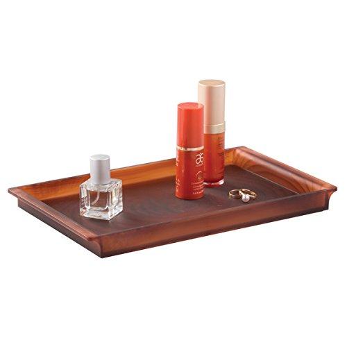 mDesign présentoir à maquillage pour salle de bain – plateau organiseur pour rangement élégant de produits cosmétiques, serviettes pour invités, parfums & bijoux etc. – couleur: marron MetroDecor