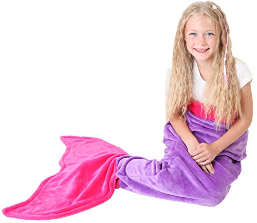 [Mermaid Tail Blanket - Super Soft and Warm Polar Fleece Fabric Blanket by Cuddly Blankets. Perfect for Kids and Teens (Ages 3-12) (Dark Purple and Hot] (Water Fairy Costume)
