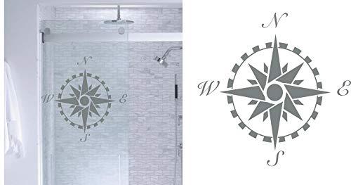 Compass Rose- DIY Etched Glass Vinyl- Window Film Privacy- Shower Door- Bathroom Decals- Front Door -Window Dressing- Etched Glass Decal