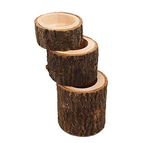NszzJixo9 Tea Light Candle Holders, Pillar Design Candlestick Flower Pot for Home Bar Garden Candle Wood Holders, Natural Wood Candle Holders for Rustic Wedding, Party, Birthday, Holiday