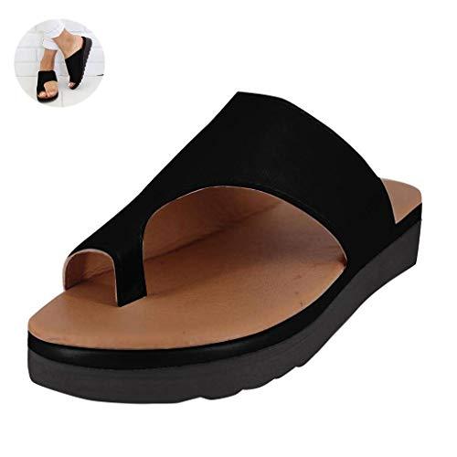 2019 New Women Comfy Platform Sandal Shoes Summer Beach Travel Shoes Fashion Sandals Comfortable Ladies Shoes (Black,US 7 (9.45 inch,Label 38))