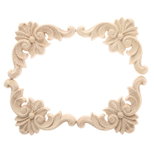 "4pcs 6x6cm/2.36""x2.36"" European Style Classic Wooden Carved Corner Onlay Applique Furniture Home Decor"