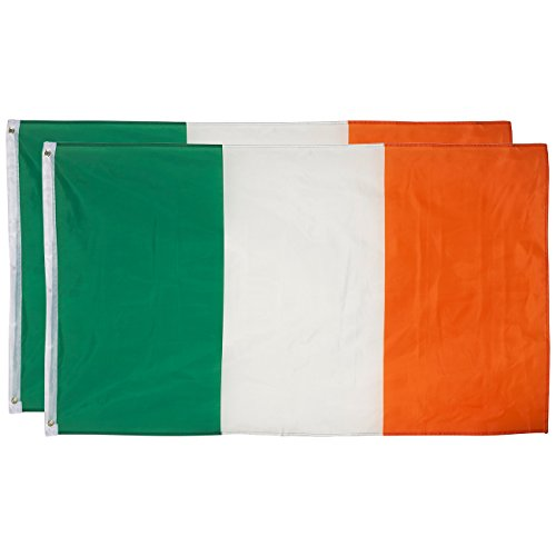 Juvale Ireland Flags - Pack of 2 Irish Flags - Perfect for St. Patrick's Day - St. Patty's Day - 3 x 5 Foot Flags with Grommets -