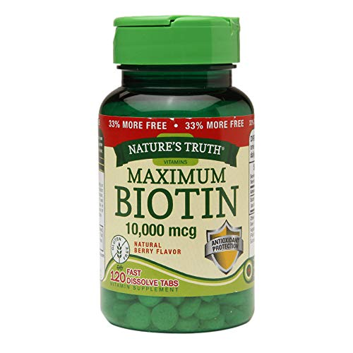 Nature's Truth Maximum Biotin 10,000 mg Fast Dissolve Tabs Berry - 120 ct, Pack of 6