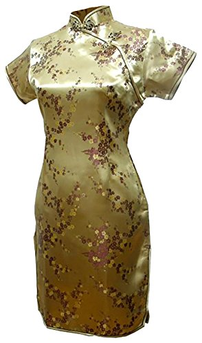 (7Fairy Women's Sexy Gold Floral Mini Chinese Evening Dress Cheongsam Size 2 US)