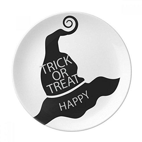 (Halloween Black Witch Hat Dessert Plate Decorative Porcelain 8 inch Dinner)