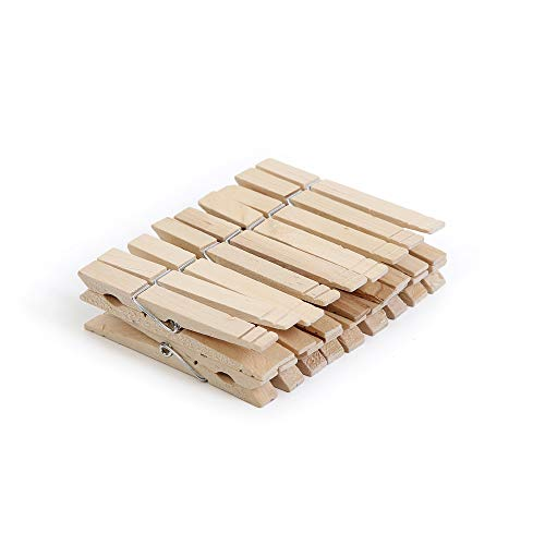 (Smart Design 4-Coil Heavy Duty Wooden Clothespins - Non Staining Hardwood Pins - Rust Resistant Wire Springs - for Drying, Hanging, Clothing, & Linens - Home Organization (3.3 x 0.8 Inch) (18 Pack))