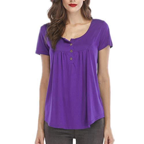 - ❤️Sumeimiya Women's Solid Tops, Ladies Row Pleats Button Ruched O-Neck T-Shirt Short Sleeve Irregular Hem Shirts Purple