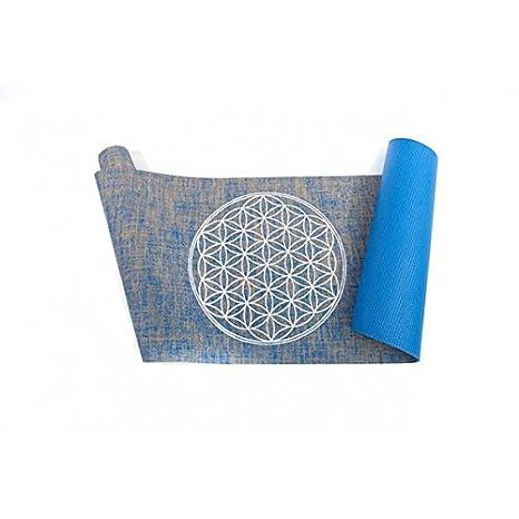 en Toile de Jute Vivre Mieux Tapis de Yoga avec Fleur de la Vie Bio