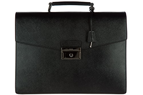 Prada briefcase attaché case laptop pc bag leather saffiano black
