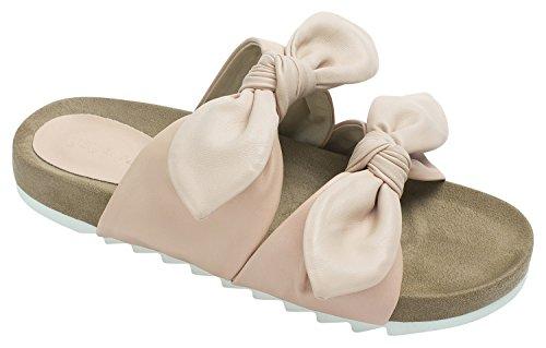 Sandalo Scorrevole Annakastle Da Donna Con Doppia Cinghia Con Cristalli Rosa