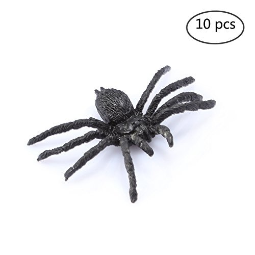 FunLavie 10PCS Plastic Spiders Realistic Bugs Scary Creepy Rubber Prank Gag Gifts for Halloween Decorations]()