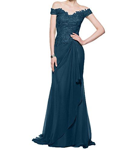 Damen Brautmutterkleider Schnitt Etuikleider Charmant Lang Blau Festlichkleider Spitze Abendkleider Kurzarm Dunkel Schmaler 6FwaqCd